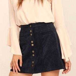 Lulus Blue Corduroy Skirt
